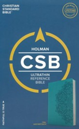 CSB Ultrathin Reference Bible, Teal LeatherTouch - Imperfectly Imprinted Bibles