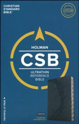 CSB Ultrathin Reference Bible, Charcoal LeatherTouch, Thumb-Indexed