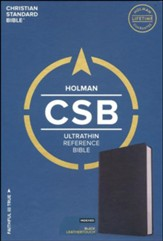 CSB Ultrathin Reference Bible, Black LeatherTouch, Thumb-Indexed