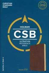 CSB Ultrathin Reference Bible, Brown Genuine Leather   - Slightly Imperfect
