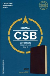 CSB Ultrathin Reference Bible, Brown Genuine Leather, Thumb-Indexed