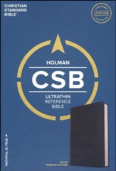 CSB Ultrathin Reference Bible, Black Premium Leather - Slightly Imperfect