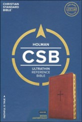 CSB Ultrathin Reference Bible, Brown LeatherTouch, Thumb-Indexed - Slightly Imperfect
