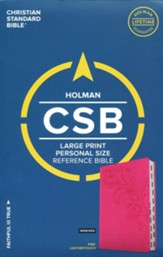 CSB Large Print Personal Size Reference Bible, Pink LeatherTouch, Thumb-Indexed - Imperfectly Imprinted Bibles