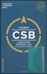 CSB Large Print Personal Size Reference Bible, Teal LeatherTouch, Indexed - Imperfectly Imprinted Bibles