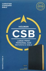 CSB Large Print Personal Size Reference Bible, Black LeatherTouch, Thumb-Indexed