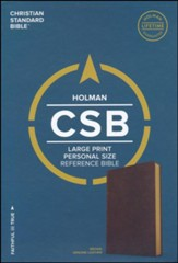 CSB Large Print Personal Size Reference Bible, Brown Genuine Goatskin Leather