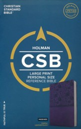 CSB Large Print Personal Size Reference Bible, Purple LeatherTouch, Thumb-Indexed - Imperfectly Imprinted Bibles