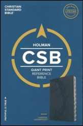 CSB Giant Print Reference Bible, Charcoal LeatherTouch, Thumb-Indexed