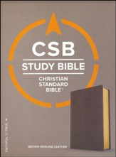 CSB Study Bible, Brown Genuine Leather  - Imperfectly Imprinted Bibles