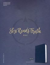 CSB She Reads Truth Bible, Navy LeatherTouch, Thumb-Indexed  - Imperfectly Imprinted Bibles