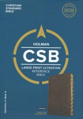 CSB Large Print Ultrathin Reference Bible, British Tan LeatherTouch, Black Letter Edition, Thumb-Indexed