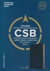 CSB Large Print Ultrathin Reference Bible, Black Premium Leather, Black Letter Edition - Slightly Imperfect
