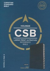 CSB Large Print Ultrathin Reference Bible, Black Premium Leather, Black Letter Edition, Thumb-Indexed