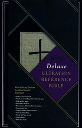 NKJV Ultrathin Reference Bible, Black & Gray Deluxe LeatherTouch, Thumb-Indexed