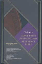 NKJV Large Print Personal Size Reference Bible, Black & Brown Deluxe LeatherTouch