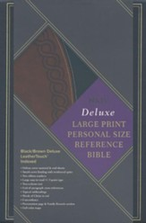 NKJV Large Print Personal Size Reference Bible, Black & Brown Deluxe LeatherTouch, Thumb-Indexed
