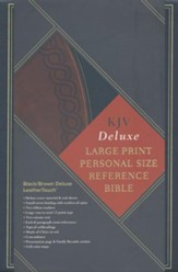 KJV Large Print Personal Size Reference Bible, Black & Brown Deluxe LeatherTouch