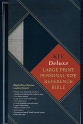 KJV Large Print Personal Size Reference Bible, Black & Gray Deluxe LeatherTouch - Imperfectly Imprinted Bibles