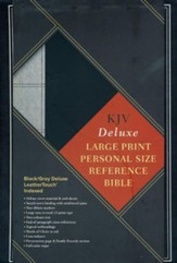 KJV Large Print Personal Size Reference Bible, Black & Gray Deluxe LeatherTouch, Thumb-Indexed