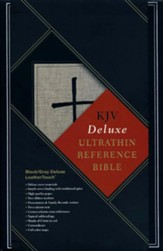 KJV Ultrathin Reference Bible, Black & Gray Deluxe LeatherTouch - Imperfectly Imprinted Bibles