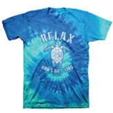 Relax God's Got This, Turtle, Shirt, Blue Tie Dye, Small