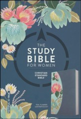 The CSB Study Bible for Women, Teal Flowers LeatherTouch, Thumb-Indexed - Imperfectly Imprinted Bibles