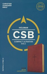 CSB Compact Ultrathin Reference Bible, Brown LeatherTouch, Thumb-Indexed