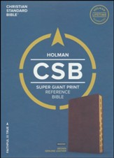 CSB Super Giant Print Reference Bible, Brown Genuine Leather, Thumb-Indexed