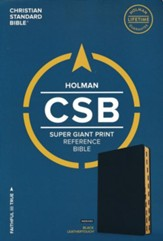 CSB Super Giant Print Reference Bible, Black LeatherTouch, Thumb-Indexed - Imperfectly Imprinted Bibles