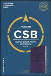 CSB Super Giant Print Reference Bible, Purple LeatherTouch, Thumb-Indexed - Slightly Imperfect