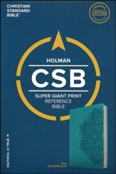 CSB Super Giant Print Reference Bible, Teal LeatherTouch - Imperfectly Imprinted Bibles
