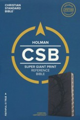 CSB Super Giant Print Reference Bible, Charcoal LeatherTouch
