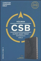 CSB Super Giant Print Reference Bible, Charcoal LeatherTouch, Thumb-Indexed - Slightly Imperfect