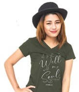 It Is Well With My Soul V-Neck Shirt, City Green, Medium
