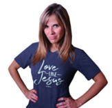 Love Like Jesus V-Neck Shirt, Heather Blue, X-Large