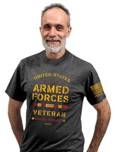 Untied States Armed Forces Veteran Shirt, Heather Grey, Medium