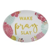 Wake, Pray, Slay Glass Paperweight
