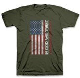 In God We Trust, Flag, Shirt, Military Green, Large
