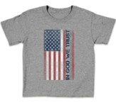 In God We Trust, Flag, Shirt, Grey, Youth Large