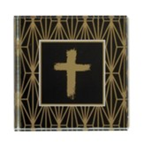 Cross Icon Square Glass Paperweight