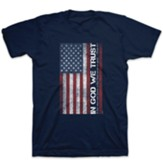In God We Trust, Flag, Shirt, Navy Blue, Large
