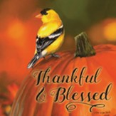 Thankful and Blessed, Goldfinch on Pumpkin, Coaster