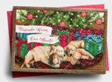 Friends Warm Our Hearts, Puppies Under Tree, Christmas Cards, Box of 18
