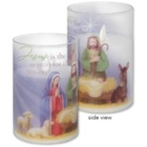 Jesus Is the Reason For the Season Glass Hurricane Candle