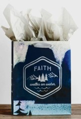 Faith Walks On Water, Silver Foil Stamped, Giftbag, Large