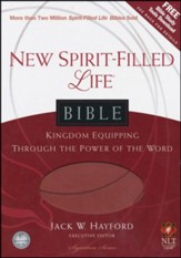 NLT New Spirit Filled Life Bible, Leathersoft, brick red-indexed - Slightly Imperfect