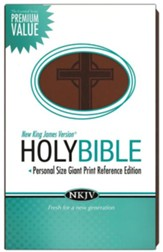 NKJV Personal Size Giant Print Reference Bible, Leathersoft, dark chocolate