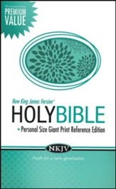 NKJV Personal Size Giant Print Reference Bible, Leathersoft, turquoise - Imperfectly Imprinted Bibles