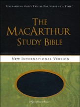 NIV MacArthur Study Bible Leathersoft, Raven, Thumb Indexed - Slightly Imperfect